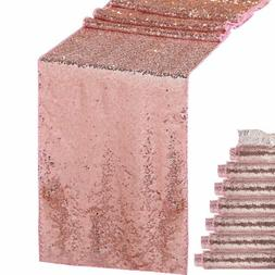 1/5/10Pcs Rose Gold Glitter Sequin Table Runners Cloth Weddi