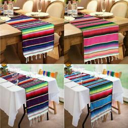 5pcs Mexican Table Runner Serape Tablecloth Fringe Cotton We
