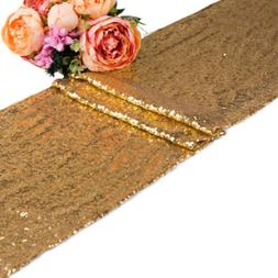 "10 20 50 Champagn Sequin Table Runner 12""x118"" Sparkly Bling"