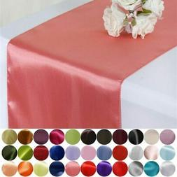 "10 pcs 12"" x 108"" Satin Table Top Runners Wedding Party Line"