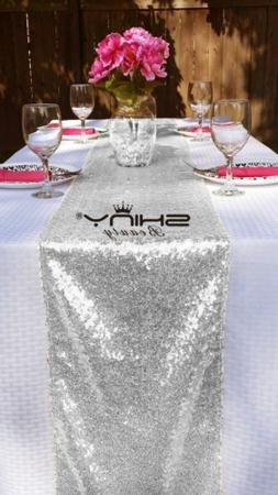 10 Pieces-12 x108 Silver-Sequin Table Runner Wedding Party C