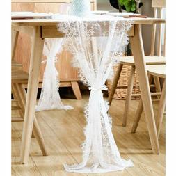 10×White Lace Table Runner Tablecloth Cover DIY Chair Sash