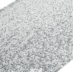 ShinyBeauty 13in X 108in Sequin Table Runners Shinny Silver
