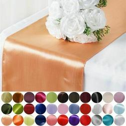 "12"" x 108"" Satin Table Top Runner Wedding Party Catering Rec"