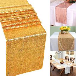"12"" x 118"" Glitter Sequin Table Runner Home Party Wedding Bi"
