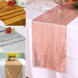 "12"" x 72"" Glitter Sequin Table Runner Cloths for Xmas Party"