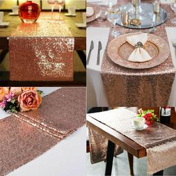 "12"" x 72"" Rose Gold Glitz Sequin Table Runners Wedding Party"