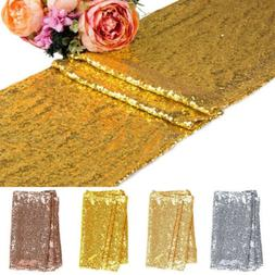 "12"" x 72"" Sequin Table Runner Cloth Tablecloth Wedding Party"