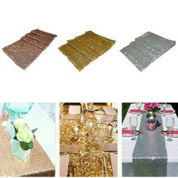 "12"" x 72"" Sequin Tablecloth Table Runner Wedding Party Banqu"