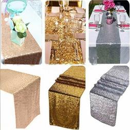 "12"" x 72"" Sparkly Sequin Table Runner Tablecloth Birthday We"