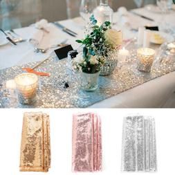 """12""""x108"""" Sparkly Rose Gold Table Runner Sequin Tablecloth We"""