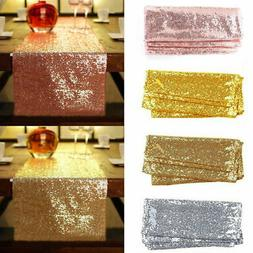 "12""x72''/108""/118"" Sparkle Sequin Table Runner Cloth Wedding"
