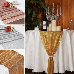 "12""x72"" Glitter Sequin Table Runner Cloth Banquet Wedding Xm"