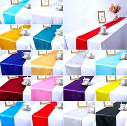 """12x 108"""" Seamless Satin Table Runner Wedding Party Banquet R"""