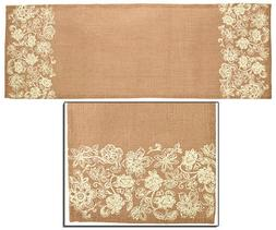 "13"" X 54"" Jute Burlap Table Runner with Cream Floral on Each"