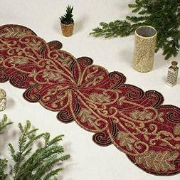 13x36 Beaded Table Runner - Scrolling Leaves Burgundy Gold