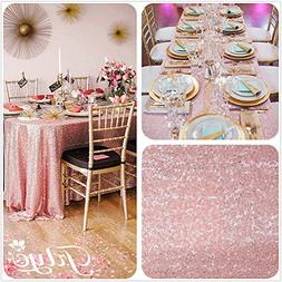 12''x108'' Blush Pink Sequin Table Runner, Sequin Table Clot