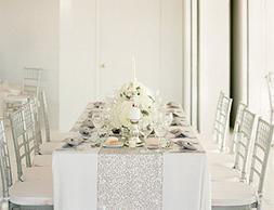 "QueenDream 14""x80""silver sequin christmas table runners Sequ"