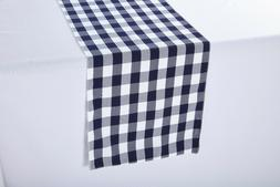 14 x 108 inch Polyester Table Runner Navy and White Gingham