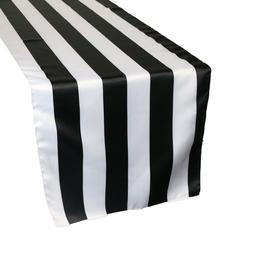 14 x 108 inch L'amour Satin Table Runner Black/White Striped