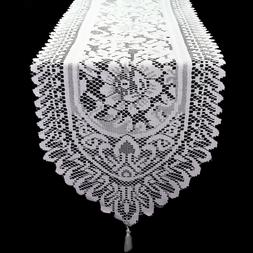 14 x 108 inch Lace Table Runner White