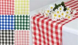 """14"""" x 108"""" - Picnic Gingham Checkered Polyester Table Runner"""