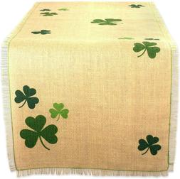 "DII 14x74"" Jute/Burlap Table Runner, Green Shamrock Clover -"