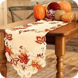 15x67 Inch Embroidered Table Runner Tablecloth Thanksgiving