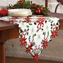 Embroiderd Christmas Poinsettia Table Runner Party Wedding T