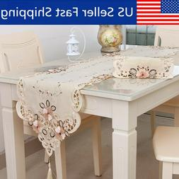 "15x98"" Table Runner Embroidered Floral Lace Fabric Transluce"