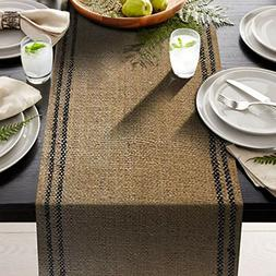 "2 black stripe inlay -  12"" x 72"" Burlap Table Runner Rustic"