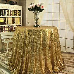 "TRLYC 2018 New Arrival Gold 50"" Mini Round Sequin Tablecloth"
