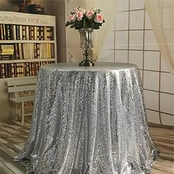"""TRLYC 2018 New Arrival Silver 70"""" Round Sequin Tablecloth fo"""