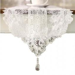 ) - Ethomes White lace embroidered table runner with