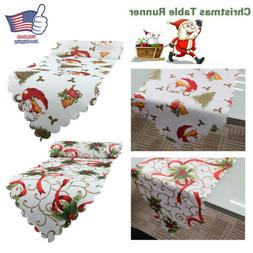 2pcs Christmas Table Runner Cover Floral Santa Party Home Ki