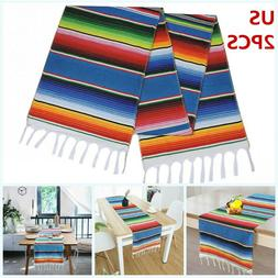 2PCS Table Runners Mexican Serape Tablecloth Festival Party