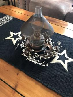 "36"" Black Classic Star Table Runner /Kitchen Dining Primit"