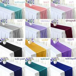 "5/10/20/30pcs 12""×108"" Satin Table Runner Wedding Party"