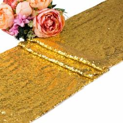 5 10 20 Gold Sequin Table Runners Glitter Sparkly Bling Wedd