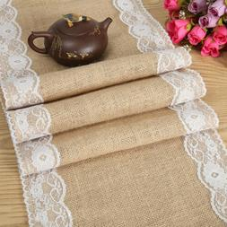 5/10/20 Rustic Burlap Hessian Lace Floral Table Runner Weddi