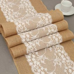 5 10 20 Rustic Burlap Hessian Lace Floral Table Runner Weddi