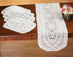 "5 PC Dining Room Table Linens Lace  Place Mats & 58"" Table R"