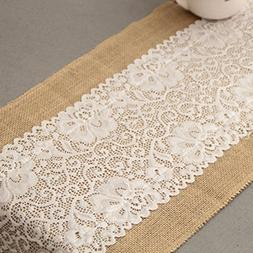 5 Pics 12x72 Inch Burlap and Lace Table Runner, Fall Thanksg