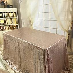 "TRLYC 50""50"" Cute Rose Gold Sequin Table Cloth Luxurious Seq"