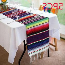 5pcs Mexican Serape Table Runner Festival Party Fringe Cotto