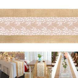 5Pcs Rustic Burlap Hessian Table Runner Jute Lace Wedding Ba