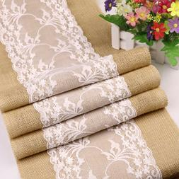 5Pcs Rustic Burlap Lace Hessian Table Runner Wedding Banquet