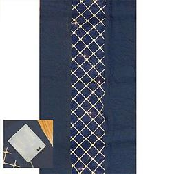 6 Midnight Navy Blue Damask Table Runner with Prelit Lights