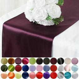 "6 pcs 12"" x 108"" Satin Table Top Runners Wedding Party Linen"