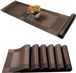 6pcs Placemats + Table Runner - Crossweave Insulation Washab